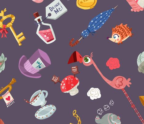 Alice in Wonderland 1 fabric by edwardiantaylor on Spoonflower - custom fabric