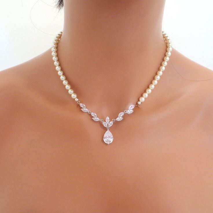 Pearl Bridal necklace SET, Crystal Wedding necklace necklace, Crystal Bridal earrings, Rhinestone necklace and earrings, Bridal jewelry by treasures570 on Etsy https://www.etsy.com/listing/158534736/pearl-bridal-necklace-set-crystal