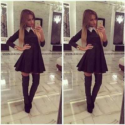 2015 nieuwe sexy lady turn-down kraag casual bodycon lange mouwen zwarte korte mini jurk herfst kleding