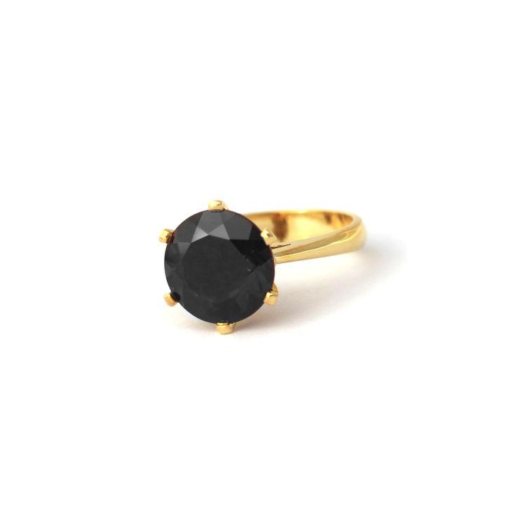 ENCHANTED CROWN RING YELLOW GOLD AND BLACK GARNET | Handmade from 9 karat Yellow Gold this stunning cocktail ring is set a 10mm Black Garnet.