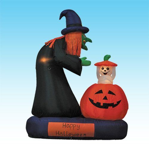 """6 Foot Animated Halloween Inflatable Witch & Ghost Rising from Pumpkin by BZB Goods. $79.00. Deflates Back Down for Easy Storage. Everthing Included: Inflator Fan, Ground Stakes and Tethers. Great for Indoor and Outdoor; Easy Set Up. Self Inflates in Moment & Lights Up, Inflated Size: 47"""" length x 26"""" width x 71"""" height. Animated - Ghost Popping Up and Down from Pumpkin!. 200093 Ghost rises from pumpkin Halloween inflatable is sure to bring delight to children and..."""