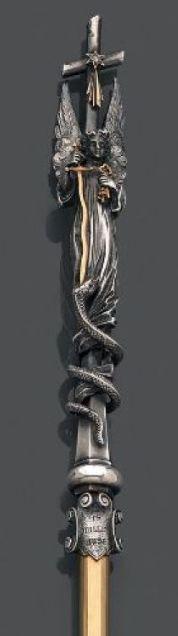 Très rare porte-plumes signé Mellerio dits Meller, en argent et or. La cartouche est signé du 19 juillet 1894.
