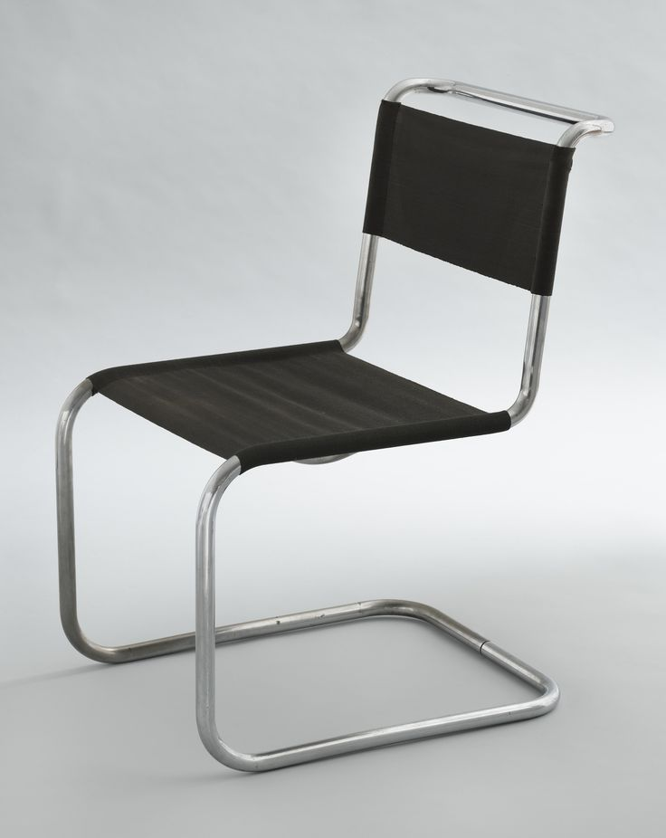 Chair (model B33), Marcel Breuer,  1927-28. Chrome-plated tubular steel with steel-thread seat and back. (From MoMA - http://www.moma.org/collection/works/122197?locale=en)