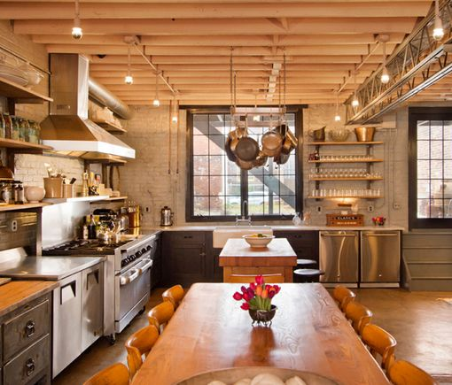Industrial Style Kitchen: Industrial Farmhouse Style Kitchen