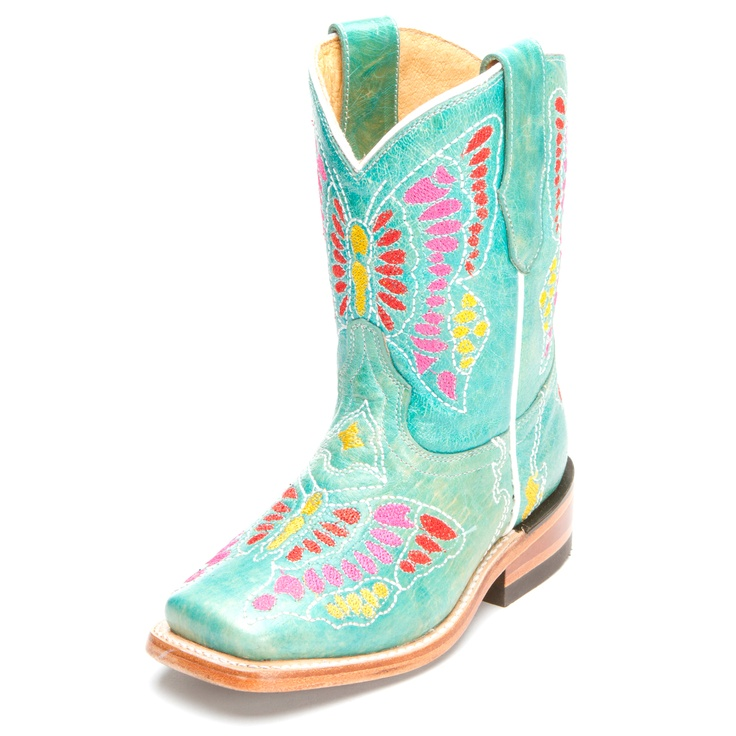 Corral Turquoise Butterfly Cowgirl Boots|All Kids Boots
