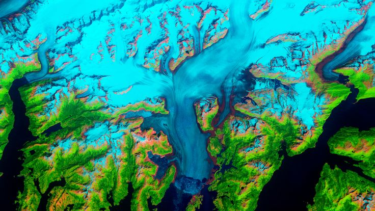 Image of the Columbia Glacier in northeastern Alaska illustrating how the landsc… – From Far Above