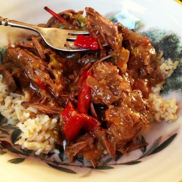 Cooker Pepper Steak serves 3 1 1/2- 2 lb london broil 4 bell peppers ...