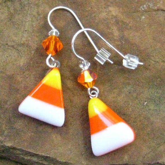 Halloween Jewelry Fused Glass Earrings Candy Corn by GlassCat, $16.50