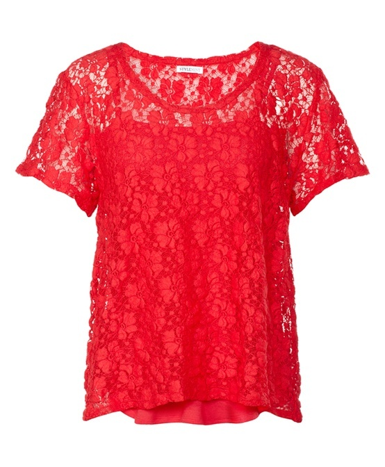 #Comfy #Red #Lace #Top