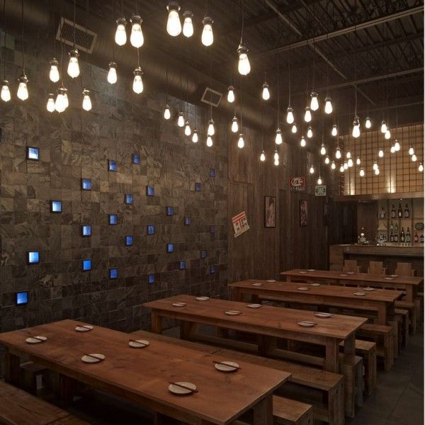 Japanese Style Cafe Interior  - I like the lighting and the wood tables