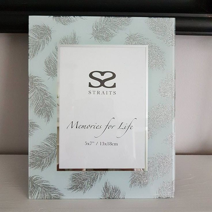 MODERN GLASS SILVER FEATHER PHOTO FRAME 5 X 7 FREE STANDING via Bluelake Interiors. Click on the image to see more!