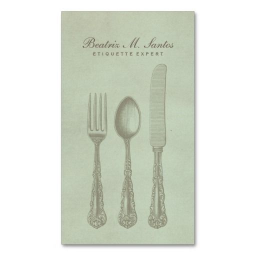 Vintage Silverware Cool Fork Spoon Knife Simple Business Card Template