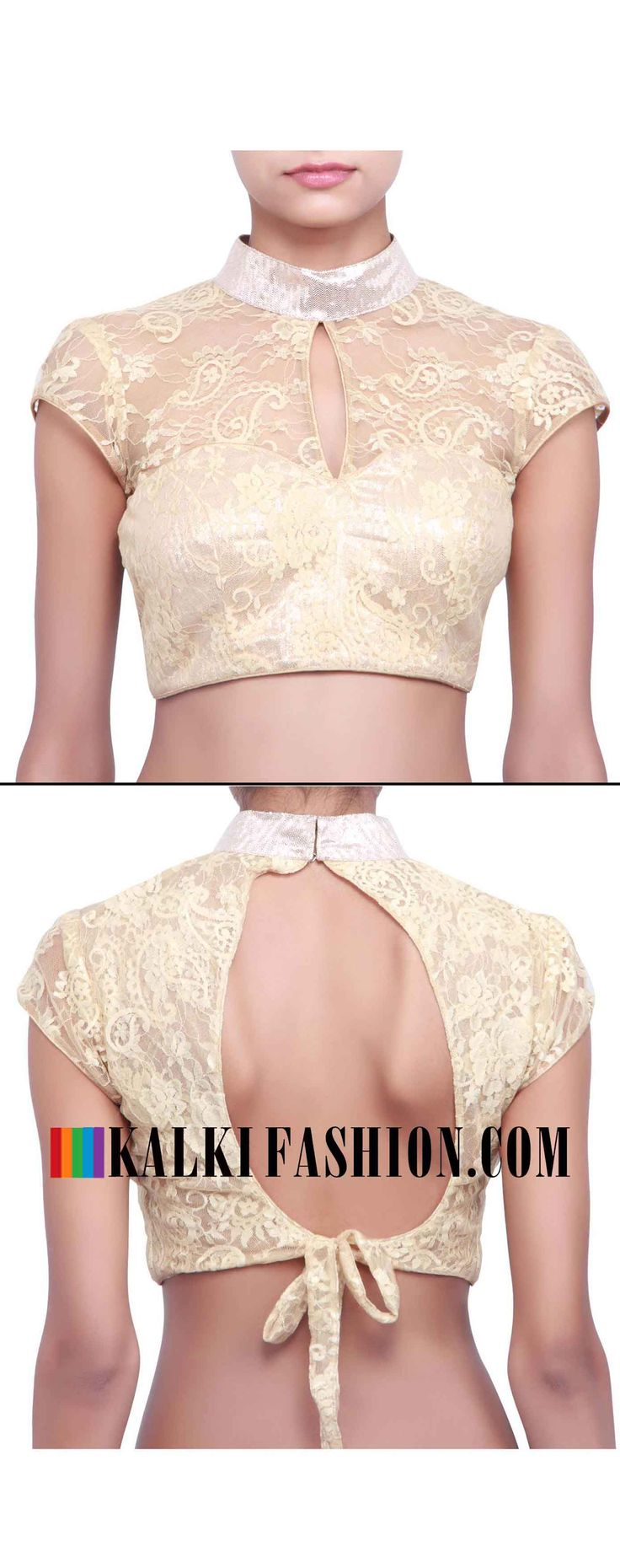 Buy online at: http://www.kalkifashion.com/beige-blouse-featuring-with-chinese-collar-only-on-kalki.html Free shipping worldwide.