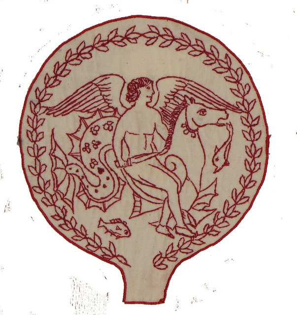 Redwork Etruscan  mirror by Bascom Oswald Hogue, via Flickr: Redwork Etruscan, Stitchy Goodness, Bascom S Redwork, Sewn Redwork, Redwork Embroidery, Photo, Red Work, Bascom Hogue