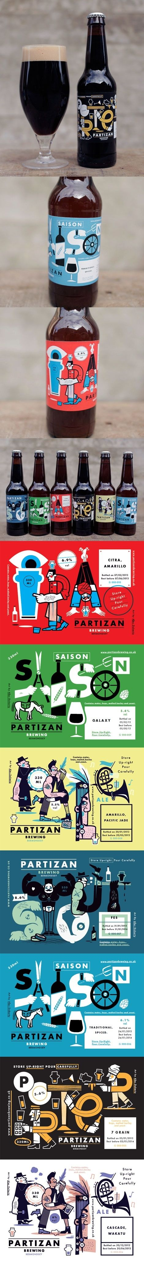 Partizan Brewing PD  Annotation:   This illustrator uses clever comic style illustrations that would undoubtedly catch a consumer's attention. Using a minimal range of colours, the illustrator has created words using illustrations and creates novelty that would entice a gender neutralised target market.