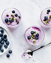 This supersimple blueberry mousse has just six ingredients. Get the recipe on Food & Wine.