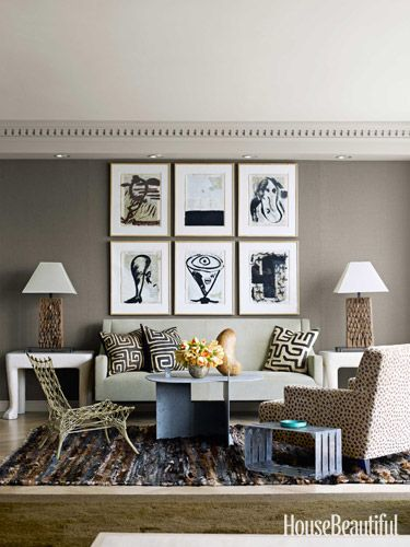 love the warm grey wall for the artwork! Home Decorating Trends 2013 - House Beautiful
