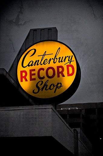 Canterbury Record Shop sign. #music #signs #musicsigns http://www.pinterest.com/TheHitman14/music-signs-neon-art-%2B/