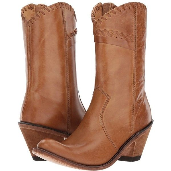 Old West Boots Crisscross Stitch Boot (Tan Canyon) Cowboy Boots ($90) ❤ liked on Polyvore featuring shoes, boots, mid-calf boots, round toe cowgirl boots, tan cowboy boots, old west boots, rounded toe cowboy boots and zipper cowboy boots
