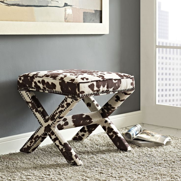 Modway Riveted Faux Cowhide Fabric Bench