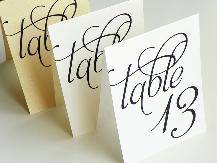 Scripted Pearl Shimmer Table Numbers - Table Number Cards - Tent Table Cards. $16.50, via Etsy.