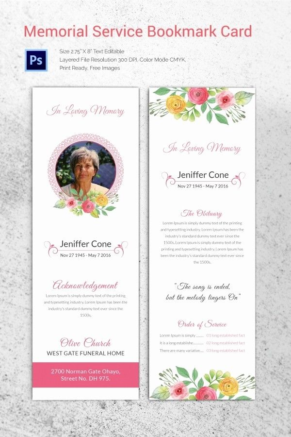 Memorial Card Template Free Download Lovely 20 Funeral Program Templates Free Word Excel Pdf Psd Memorial Cards For Funeral Funeral Cards Memorial Cards