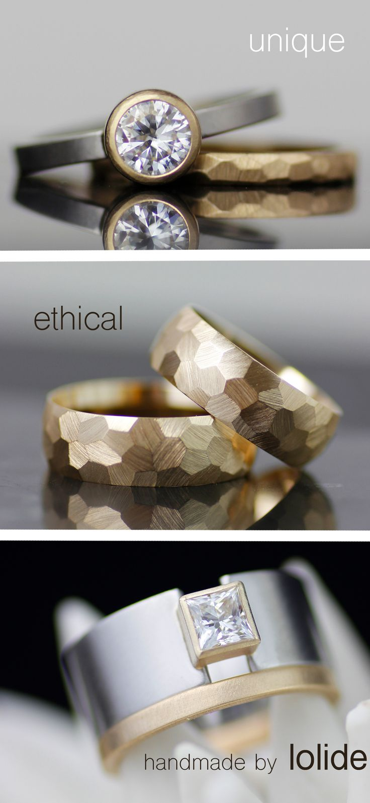 Custom wedding and engagement rings, handmade just for you by lolide
