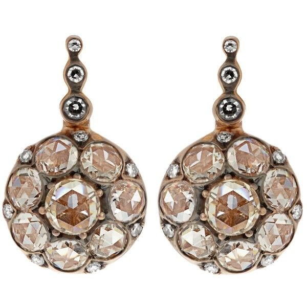Selim Mouzannar Diamond & pink-gold Beirut earrings ($6,896) ❤ liked on Polyvore featuring jewelry, earrings, glitter earrings, rose gold jewelry, diamond earrings, earring jewelry and sparkling jewellery