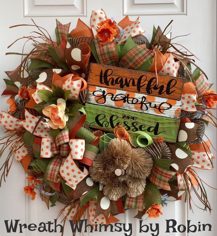 Fall Jute Mesh Wreath in Brown, Green & Orange with Handmade Reclaimed Wood Sign, Front Door Wreath, Fall Decor, Thanksgiving Wreath, Rustic by WreathWhimsybyRobin on Etsy