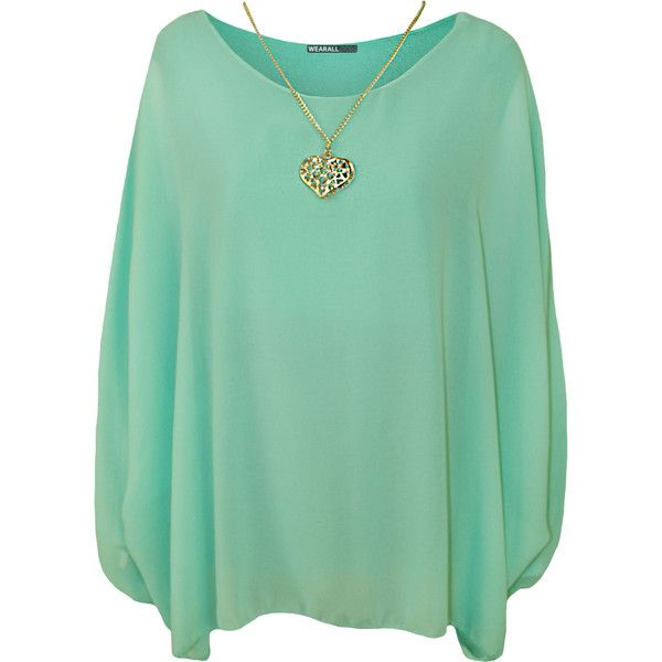 Nora Baggy Batwing Sleeve Necklace Top ($25) ❤ liked on Polyvore featuring tops, mint green, mint top, mint chiffon top, double layer top, summer tops and layered tops