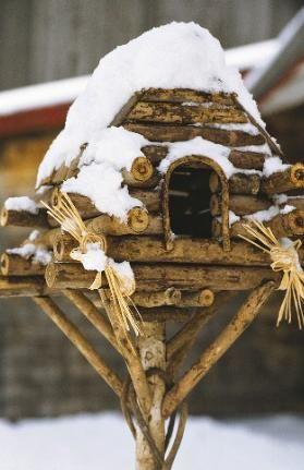 """""""log cabin"""" birdhouse"""