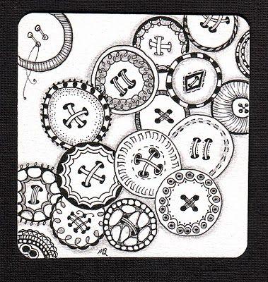 button zentangles: Doodles Art, Zen Tangled, Buttons Zentangle, Buttons Doodles, Zentangle Buttons, Zentangle Doodles, Zentangle Patterns, Shelli Beauch, Zentangle Inspiration