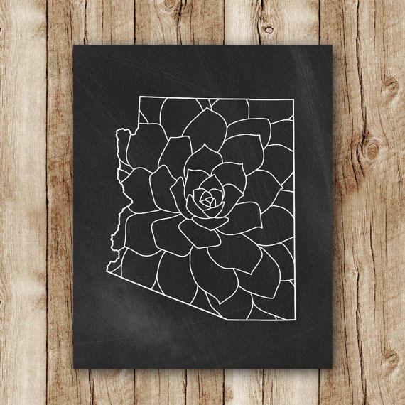 arizona print arizona map floral chalkboard by SunnyRainFactory