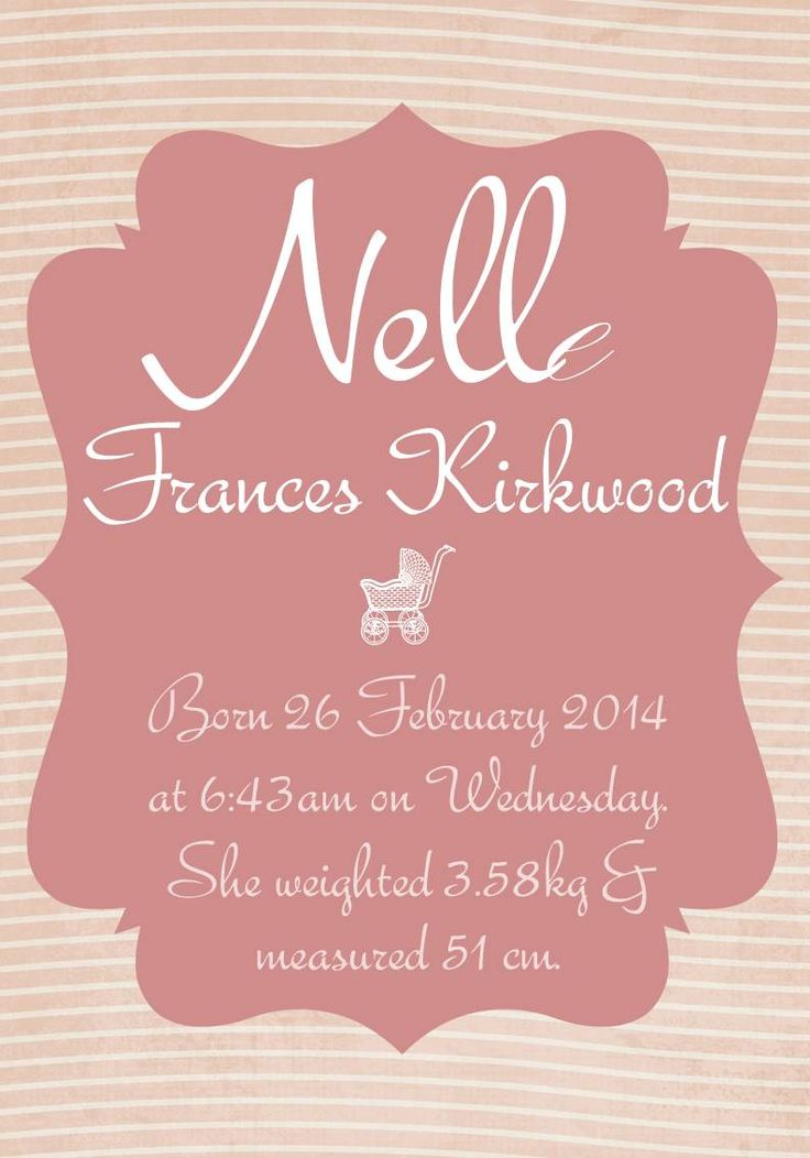 Personalised baby girl posters for your baby's nursery or as a personalised baby gift- Vintage.