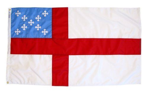 Episcopal Flag 3 FT. x 5 FT. by Annin & Co. Inc.. $58.00. Fast Drying. Brilliant Colors. Fade Resistant. Made in USA. Heavyweight Nylon Fabric. This flag material is a specially created nylon for outdoor use. It features 100 heavyweight dyed nylon, a white polyester duck heading and brass grommets. Very strong and durable with reinforced stitching on fly end and a special parachute cloth treatment that reduces sun and chemical deterioration. The Episcopal flag represents the Ep...