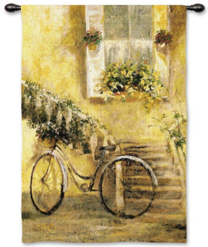 Courtyard Bicycle Wall Tapestry by Miguel Dominguez at Art.com This is almost exactly the oil painting I have!