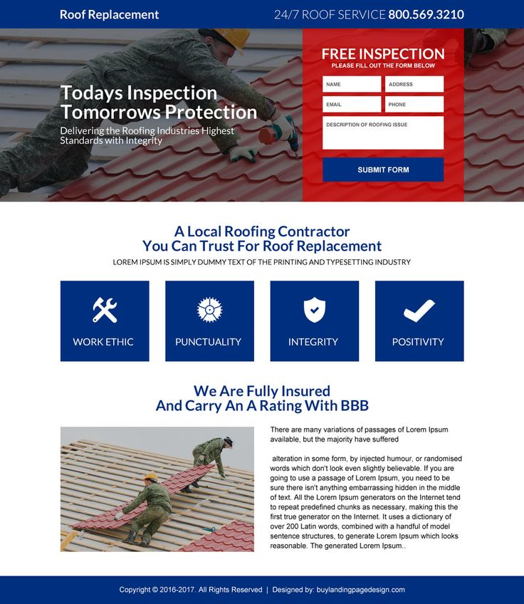 roofing lead generating mini landing page design