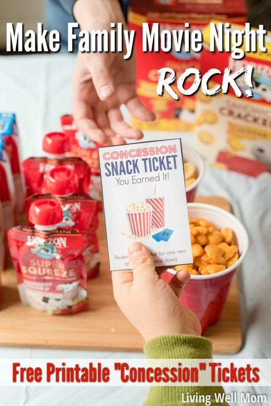 "Make your family movie night amazing (no extra work!) with three simple tips. Plus download our free printable ""concession stand"" tickets that kids will love! You'll save a lot of money compared to going out to the theater and still have a blast! (sponsored)"