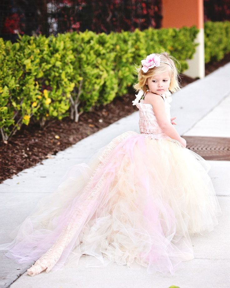 Lace Flower Girl Dress w Tutu and Detachable by BellaBeanCouture