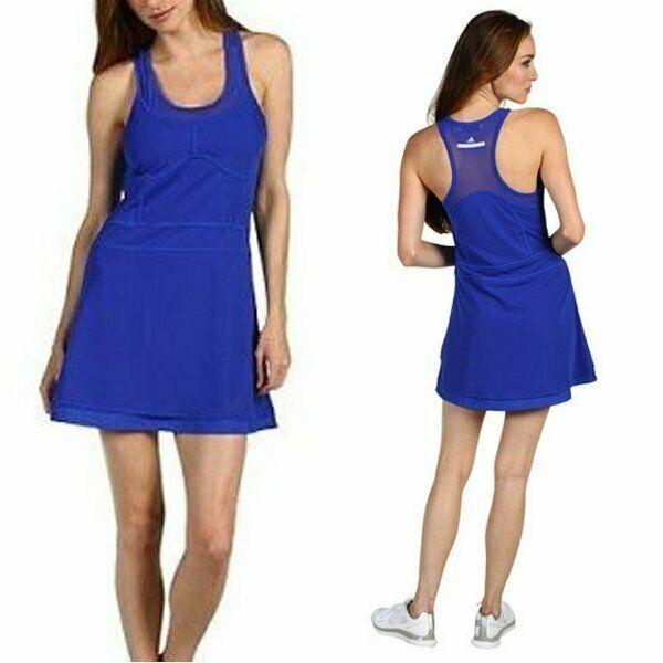 Adidas Stella Mccartney Tennis Dress S Royal Blue Mesh Accents Built In Bra Adidas Tennis Dress White Tennis Dress Stella Mccartney Tennis Dress