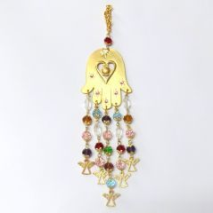 Ölçüler: 6 cm x 24 cm Materyal: Fatma Ana'nın eli altın kaplama, boncuklar kristaldir.