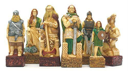 Celtic Vs Vikings Chess Pieces Sac Hand Decorated Viking Chess Chess Pieces Chess