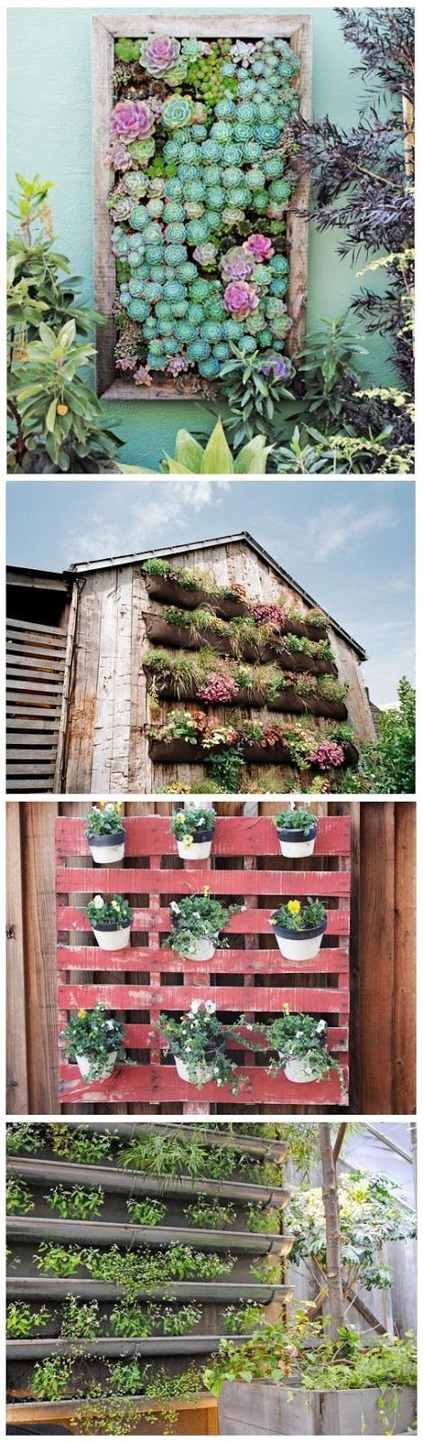 Vertical Gardening Ideas | World In Green- I absolutely love the first one! A vertical succulent garden is such a great idea