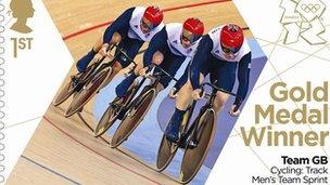 Gold medal stamp - men's cycling team sprint