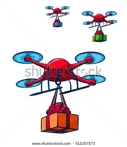 Drones Delivery Presents. Vector Illustration. Isolated.