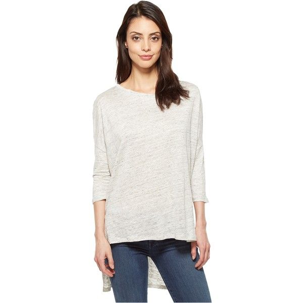 Alternative Amelie Linen Jersey 3/4 Sleeve T-Shirt (Ash Heather) ($31) ❤ liked on Polyvore featuring tops, t-shirts, beige, linen t shirt, linen tee, relax t shirt, white jersey and 3/4 sleeve t shirts