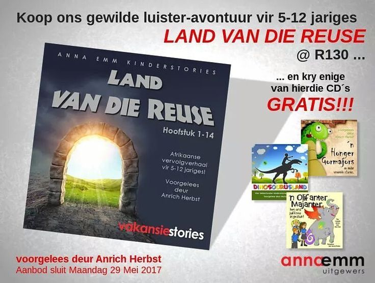 Koop LAND VAN DIE REUSE @ R130 en kies enige van die gelyste Anrich Herbst storie-CDs GRATIS!!!! Waarde R100. Aanbod sluit Maandag 29 Mei.  LAAI HOOFSTUK 1 HIER AF: http://www.AnnaEmm.co.za/Land_van_die_reuse_sample.mp3  In ons lekkerluister avontuur vir 5-12 jariges, LAND VAN DIE REUSE, ontmoet ons vir Elle. Sy is kleinerig vir haar ouderdom, en die boelie, Lafras, en sy maats treiter haar eindeloos. Tydens 'n uitstappie na die museum, kruip sy vir hulle weg agter een van die vertoonkaste ……