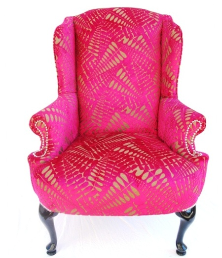You could almost build a room around just the chair.: Divine Chairs, Gold Chairs, Wings Chairs, Pink Chairs, Vintage Frames, Hot Pink, Accent Chairs, Pink And Gold, Wingback Chairs