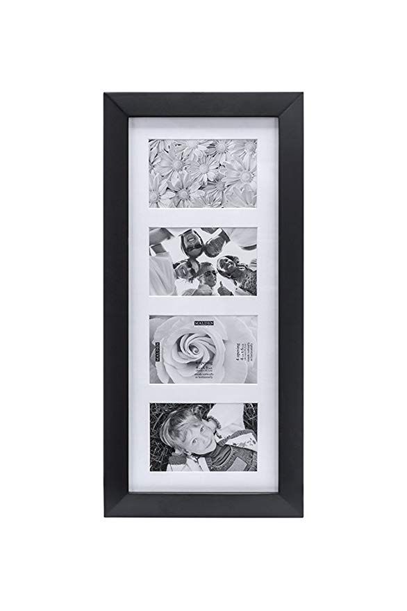 Malden 4x6 4 Opening Collage Matted Picture Frame Displays Four 4x6 Pictures Black Frame Picture Frames Hanging Picture Frames 4 opening picture frame 4x6