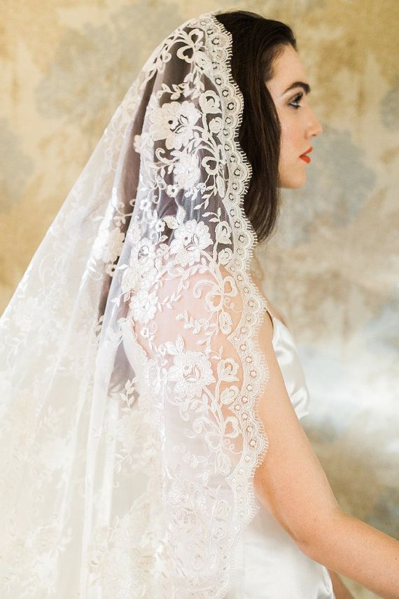 Mantilla Veil Cathedral Veil Ivory Veil Wedding by MarisolAparicio